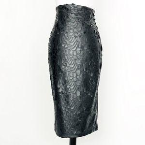 h&m • black faux leather floral cutwork midi skirt